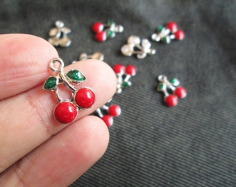 Cherry Charms 12 pcs LOW SHIPPING Enamalized new year green red Fruit charm CT - 0099