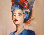 Modern Portrait- Ferrea assenza - Original Contemporary Painting