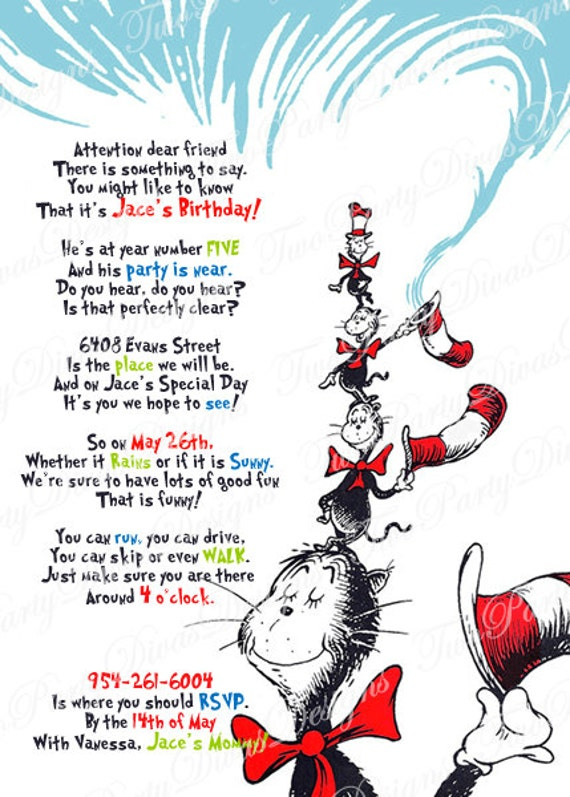 printable personalized cat in the hat birthday party, Birthday invitations