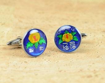 South korea enamel Coin Cufflinks