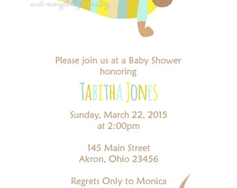 Dachshund Wiener Dog Baby Shower Birthday Invitations | Custom Design | Professionally Printed Card Stock | Boy Girl Twin Sibling Best