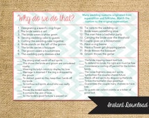 Instant Download Bridal Shower Game-- Why do we do that, Match the Customs-Customization NOT Included