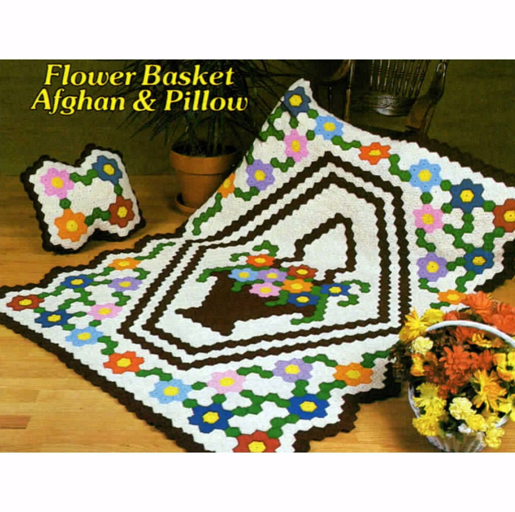 Free Crochet Flower Basket Pattern : Pdf flower basket afghan and pillow pattern book different