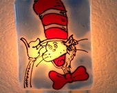 Cat in the Hat Nightlight - Red, White, and Blue Fused Glass