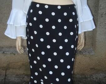 Elegant BLACK SILK SKIRT with white dots and ruffles, gift idea