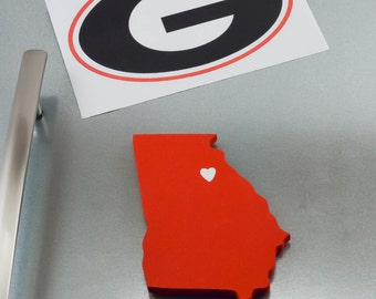 "Georgia Bulldogs ""State Heart"" Magnet, handcrafted wood with official team colors"