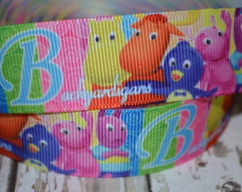 BACKYARDIGANS Grosgrain Ribbon...By the Yard...1 Inch...Perfect for hair bows, paci clips, key fobs, clothing, and sewing projects!