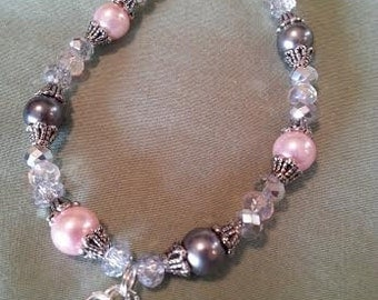 Breast and Brain cancer awareness glass pearl bracelet