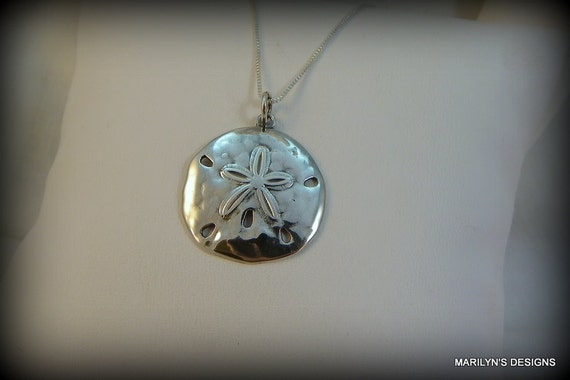 Sterling silver necklace, sand dollar necklace, sea life necklace, shell necklace, jewelry, necklace, charm necklace