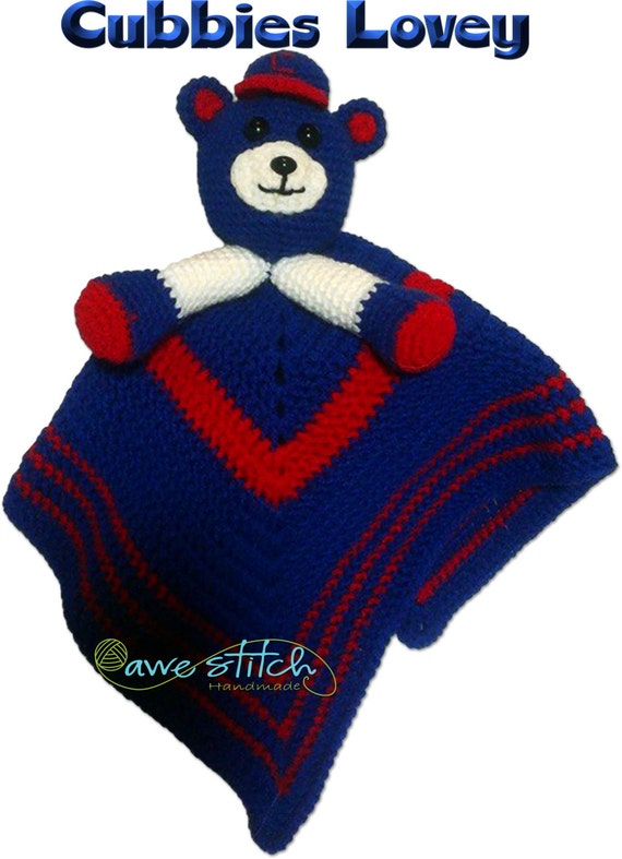 chicago cubs cubbies inspired crochet lovey pattern by