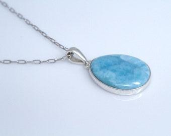 Blue Larimar Pendant, Authentic Larimar Stone, Dominican Handmade