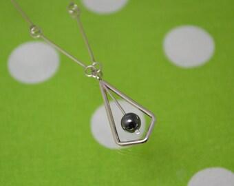 Long Diamond Necklace with Hematite