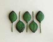 50 Dark Green Paper Leaves with Wire Stems - Life-size rose leaf [L] - Great for wedding decorations