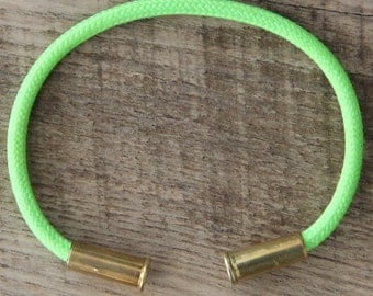 Bullet Casing Bracelet Electric Lime 550 Paracord BRZN