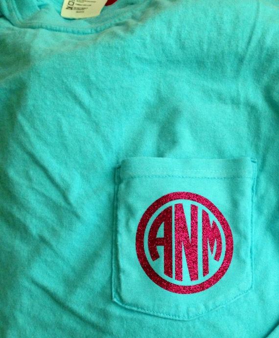 Custom vinyl monogrammed pocket t shirt by befreebeees on etsy for Custom pocket t shirts
