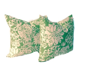GREEN AND White 16X16 set of Decorator Print Throw Pillow Covers. Toss Cushion Covers