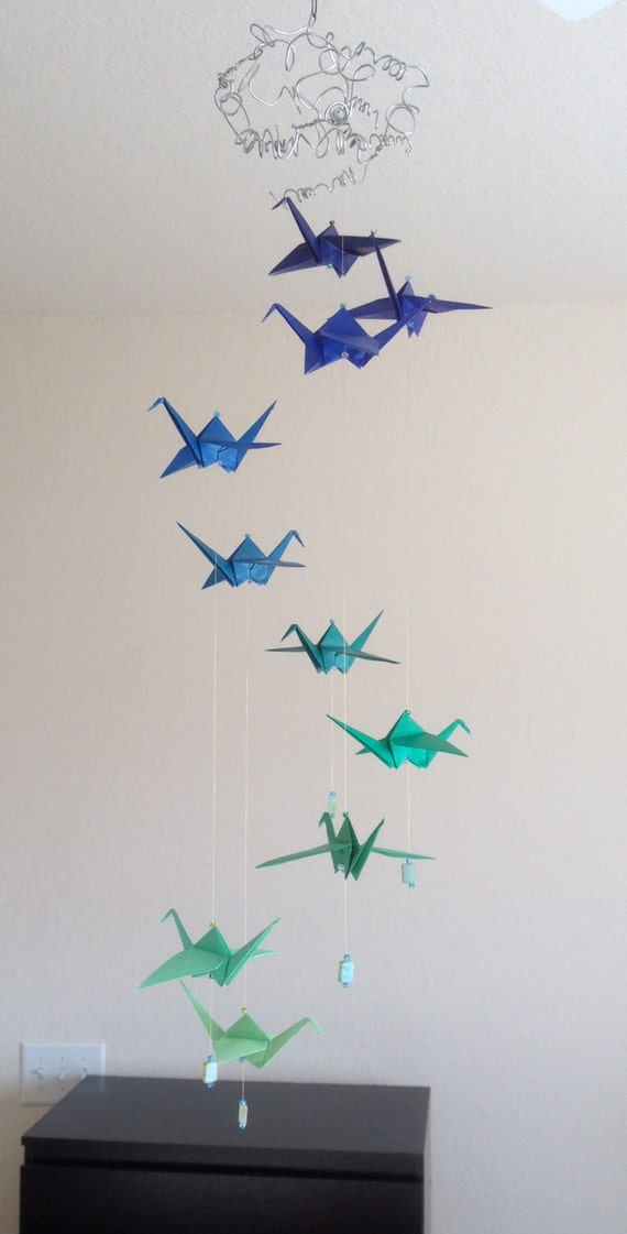 Origami hanging mobile A Pair of Cranes origami crane home | Etsy | 1121x570