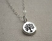 Tiny Tree of Life Necklace Stamped Sterling Silver - Family Tree Pendant - Personalize, Customize