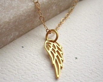 Tiny Cutout Angel Wing 24K Gold Plated Necklace Small Pendant - Personalize, Customize