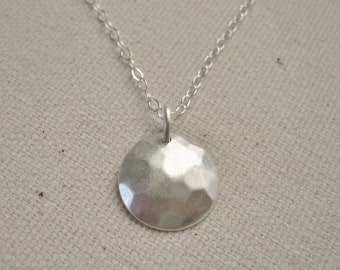 Matte Sterling Silver Hammered Disc Necklace - Modern Jewelry