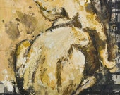 Large Oil Painting - Cat Reclining on a Carpet, Vintage French