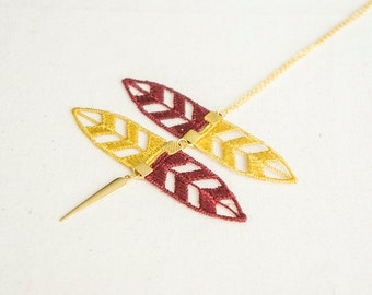 Mustard Necklace Maroon Necklacce Lace Necklace Boho Necklace Tribal Necklace Modern Necklace Lace Accessory / CORONATA