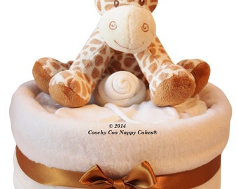 Large Single Tier nappy cake giraffe soft toy baby gift for new baby baby shower maternity gift hamper
