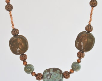 African Kazuri Ceramic Necklace Set with brown, sage, and copper