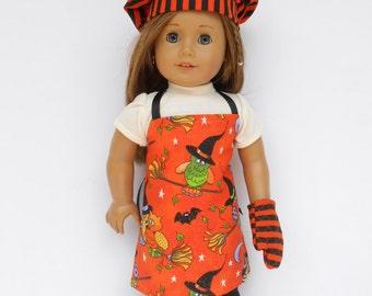 Halloween Chef's Set, 18 Inch Doll Clothes, Orange and Black Chef's Set, Apron, Chef's Hat, Oven Mitt, Owl Chef's Set