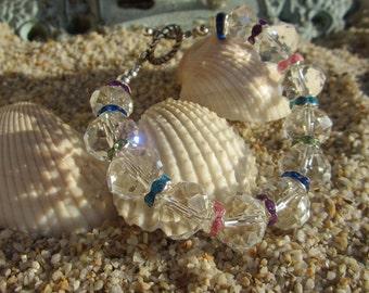 Chunky Clear Crystal,and Rainbow rhinestone Bracelet