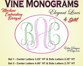 Vine Monograms Elegant Lines Machine Embroidery Monograms Embroidery Fonts BUNDLE
