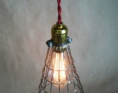 Rustic cage pendant light, industrial light cage, retro hanging light, with brass socket and Edison bulb- minimalist lighting