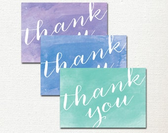 Thank You Cards for Wedding, Watercolor Thank You Card, Watercolor Notecards, Purple, Green, Blue