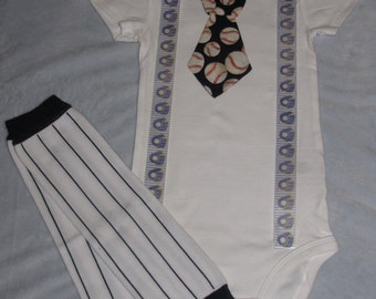 MILWAUKEE BREWERS inspired baseball outfit for baby boy - tie bodysuit with suspenders and leg warmers