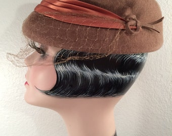 1940s Hat--Cocoa Brown Wool, Satin Band, and Veil