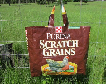 Upcycled FarmSwag Scratch Grain Feedbag Tote / Market Bag. FREE USA Shipping