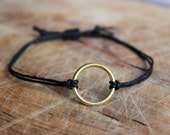 Gold Circle Macrame Adjustable Bracelet