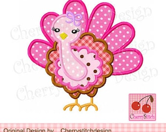 Turkey girl Thanksgiving Turkey Machine Embroidery Applique Design - 4x4 5x5 6x6""