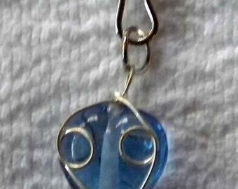 Blue Heart Zipper Pull