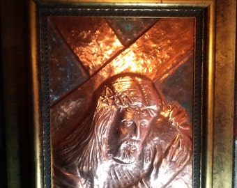 Embossed copper - Christ with the cross