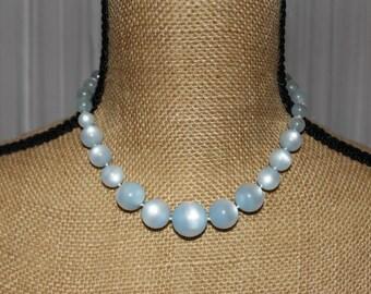 Vintage 1950's Pastel Blue Moonglow Choker / Necklace