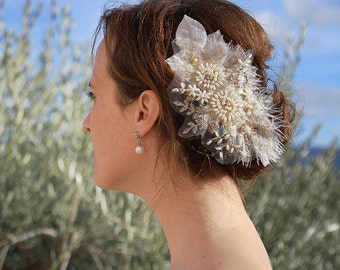 Hairaccessory, bridal headpiece, wedding headpiece, lace headpiece, fascinator, bridal accessory, champagne hairaccessory