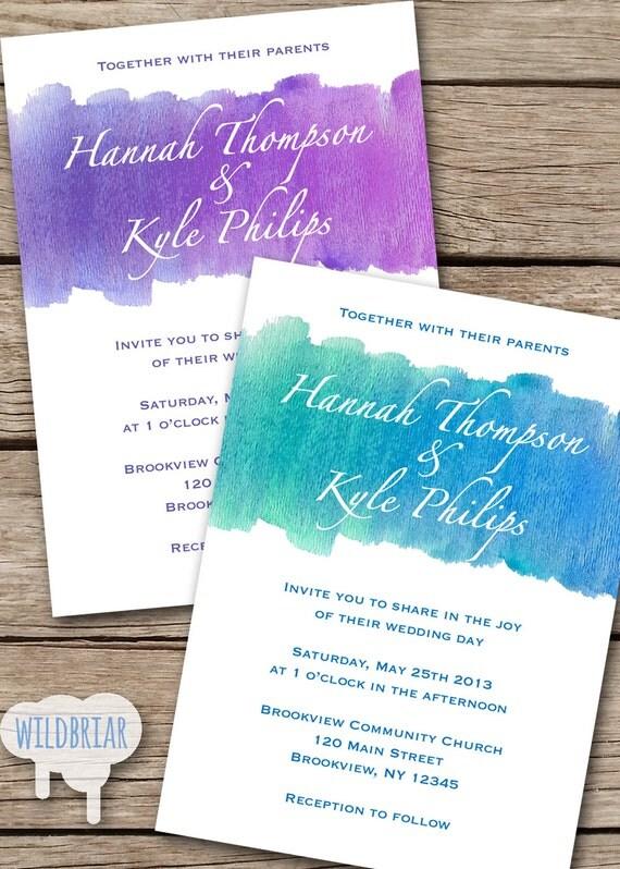 Watercolor Printable Wedding Invitation By WildbriarDesign On Etsy