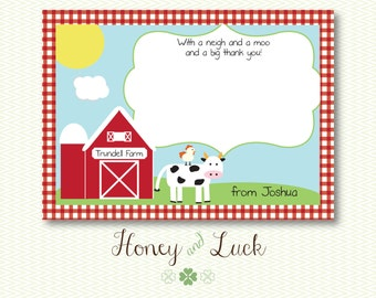 Barnyard Thank You Card Cute with Farm Animals and Gingham - Digital File