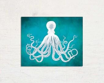 Teal Octopus, Octopus Print, Teal Wall Art, Octopus Teal, Vintage Bodner, Bodner Octopus Wall Art, Bodner Octopus, Nautical Decor, Teal