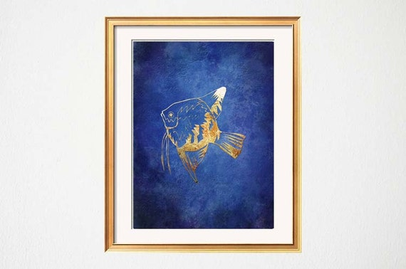 Items similar to fish wall art beach bathroom art lake for Blue and gold bathroom accessories
