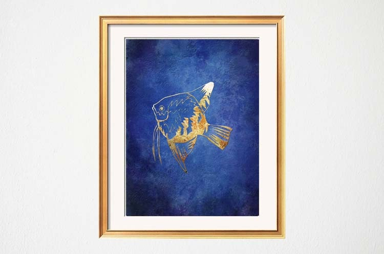 fish wall art beach bathroom art lake house art blue gold. Black Bedroom Furniture Sets. Home Design Ideas