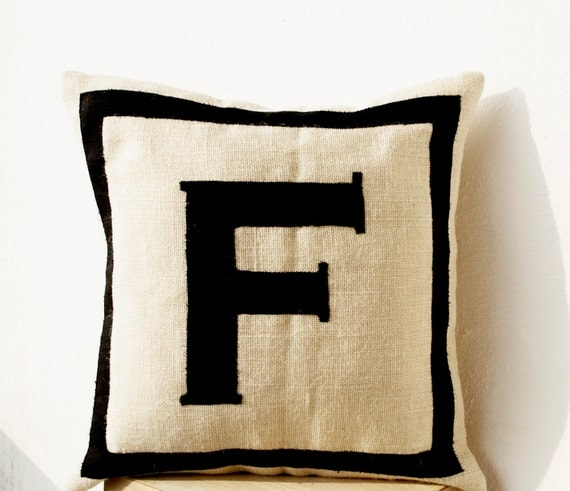 Personalized Monogram throw pillow Burlap pillows Black