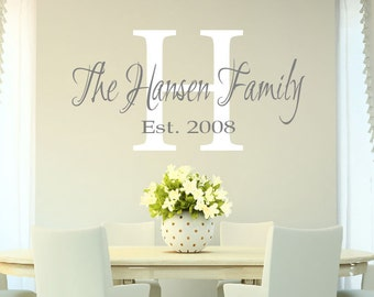 Family Name Monogram Decal - Personalized Family Name Decal Monogram Established Date Vinyl Wall Decal - Family Decor Custom Family Decal