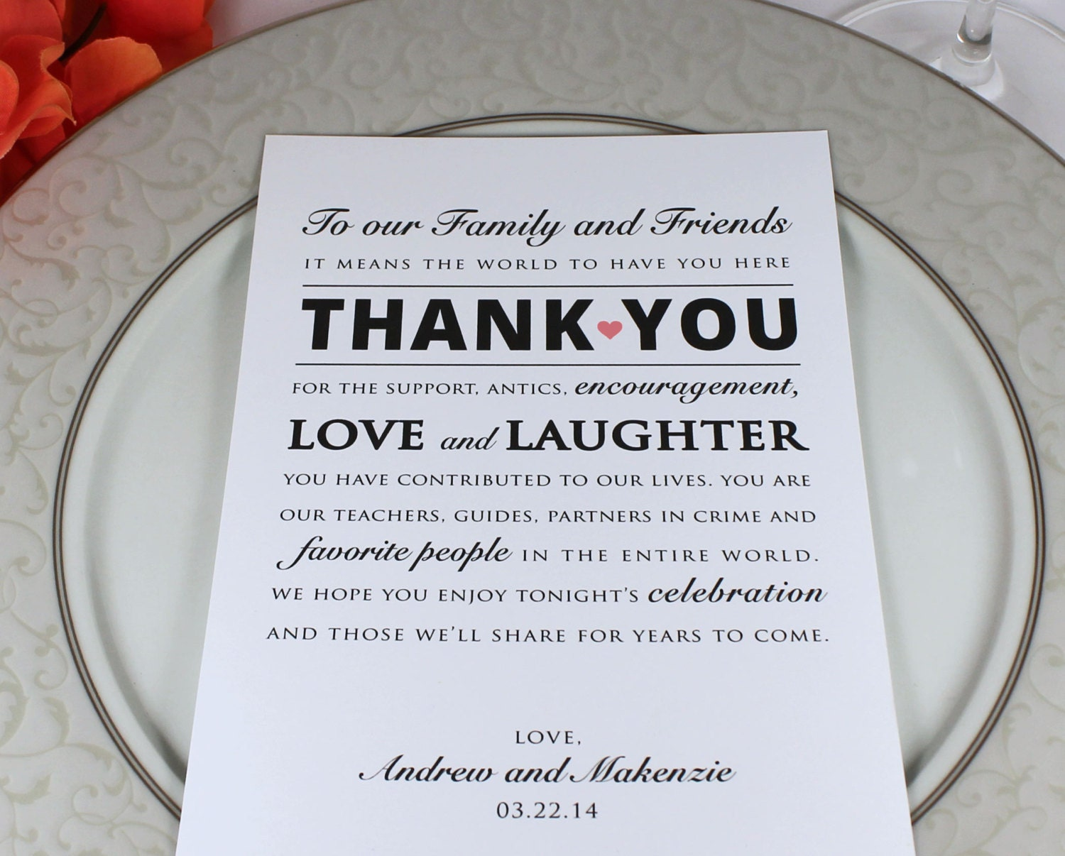 printed wedding reception thank you card personalized thank